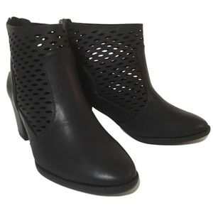 Shoes - Laser Cut Back Zip Almond Toe Ankle Booties